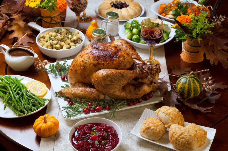 table filled with Thanksgiving foods